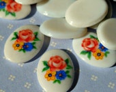 Vintage Japanese 14x10mm Glass Cabochons with Colorful Flower Detail (6-30-6)
