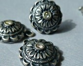 Six Vintage Antique Silver 16mm round Pendant Charm Findings with Rhinestone (52-7B-6)
