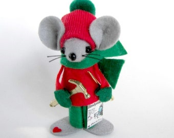 Christmas Felt Male Mouse Carpenter Ornament with Tools Red and Green by Warmth