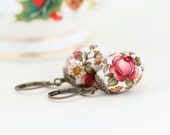 Painted Beaded Earrings, Brass, Floral Patterned Beads, Painted Beads, Embellished, Drop Earrings, Red Green and Yellow, Gift For Woman