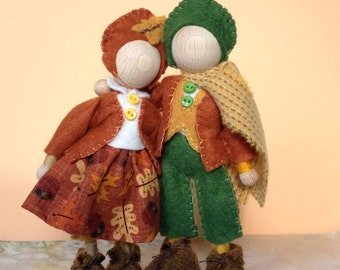 Autumn Spirits, wooden bendy doll