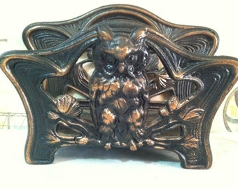 Free Shipping VERY RARE CIRCA 1880's Antique Cast Iron Owl Napkin Holder or Letter Holder or Recipe Book Holder