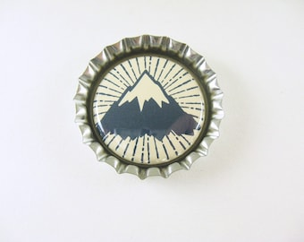 Mountain Bottle Cap Magnet - blue cream