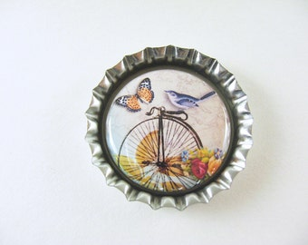 Bird Bike Butterfly Bottlecap Fridge Magnet Home & Living, Kitchen, Storage