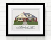 Home Portrait, Custom Home Illustration, Personalized Family Established Art, Housewarming, Real Estate Closing Gift - 8x10 Art Print