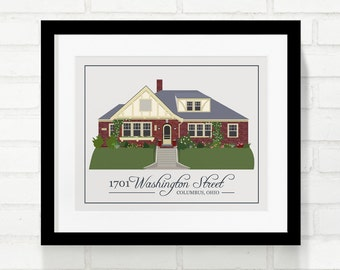 Custom Home Illustration, Last Name Home Illustration, House Illustration, Housewarming, Real Estate Closing Gift, New Home Owner 8x10 Print