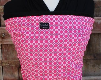 Ready To Ship-Super Lightweight ORGANIC BAMBOO Baby Wrap Sling Carrier- Hot Pink on Black-Newborn through Toddler- DvD Included