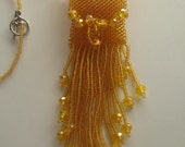 Necklace,Beadwoven Amulet Bag, Mini Wish Bag in Honey Yellow
