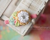 Spring Coral blue and butter yellow headband for girls from All Things Ribbon
