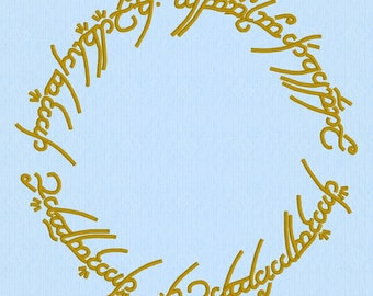 Lord of the Rings (LOTR) One Ring Machine Embroidery Design File in two versions and two sizes