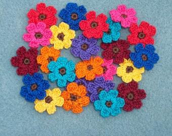 24 small cotton thread crochet applique flowers -- 1996