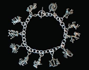 Pewter Zodiac Charm Bracelet
