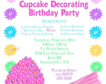 Cupcake Decorating Invitations, Cupcake party,  Baking invitations, kitchen invitations, Cupcake,  Children, Little girl, Cooking