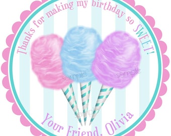 Cotton Candy Stickers, Cotton Candy labels, Circus Stickers, Birthday, Circus, Carnival, Candy, Favor, Set of 12