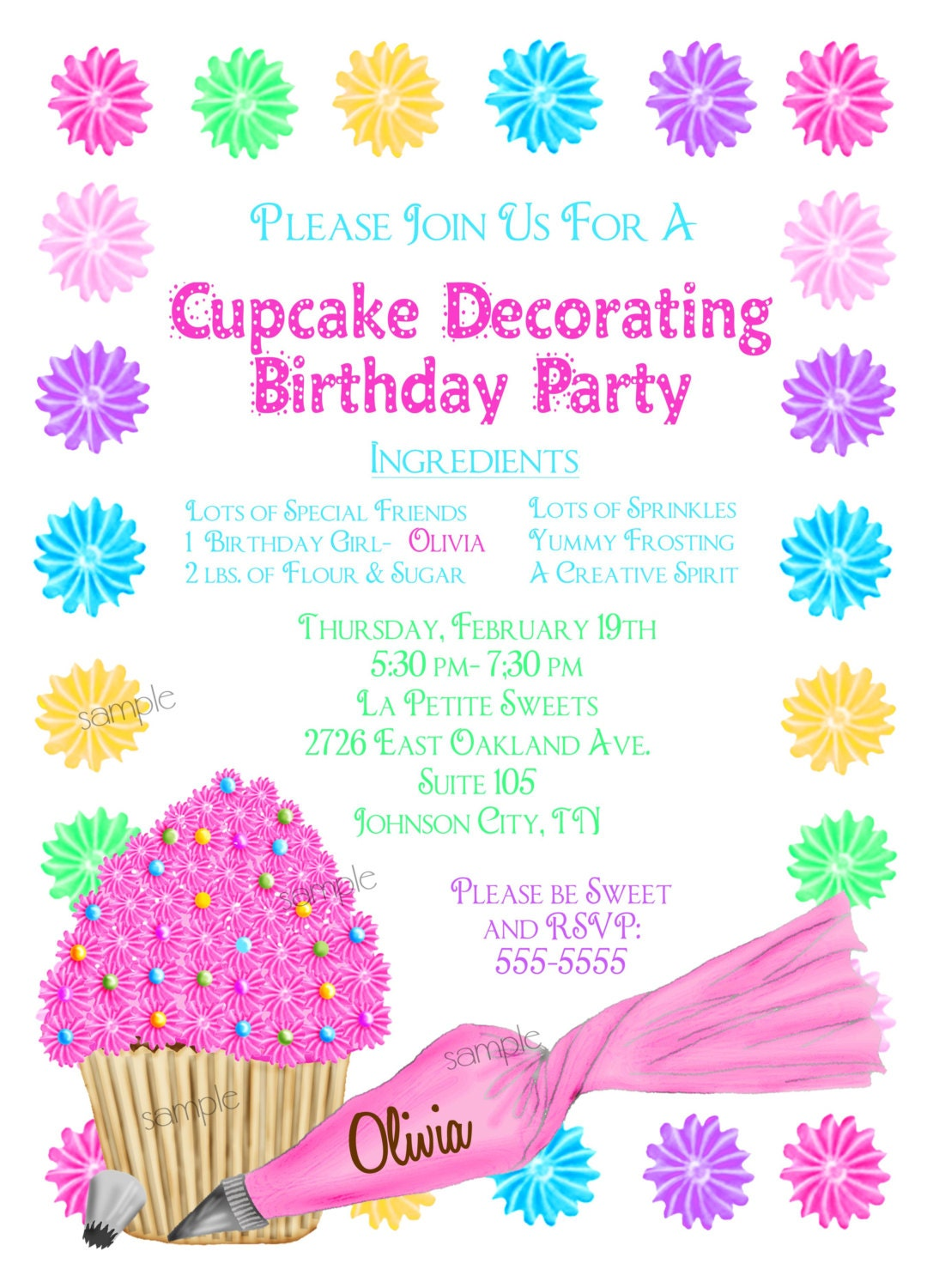 Cake Decorating Birthday Party Invitations : Cupcake Decorating Invitations Cupcake party Baking