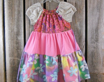 Size 5 years girls dress/ rainbow circus/ bohemian, gypsy, peasant dress/ made from reclaimed materials/ Eco wear/ photo fashion/ whimsical