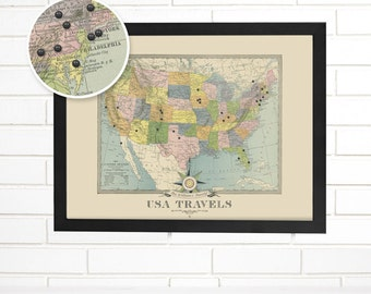 Personalized USA Push Pin Travel Map, Customized Colorful Vintage USA Travels Pushpin Map