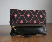 Pink Geometric Pouch. Black Tribal Clutch. Black Leather Pouch.