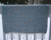 Hand Woven Rag Rug (Blue with Rose Accents),  Cotton Rag Rug
