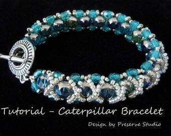 Bracelet Tutorial, Beaded Bracelet Tutorial, RAW Tutorial, Bead weaving Bracelet Tutorial, Seed Bead Tutorial, Caterpillar Bracelet,