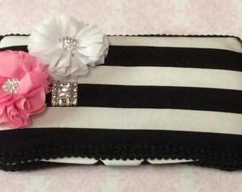 Black and White Travel Wipe Case for baby shower GIFT rhinestone FLOWER pink white