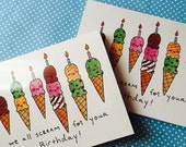 BIG SALE 10-Pack of Ice Cream Birthday Cards