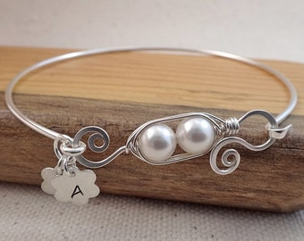 Personalized Two Pea Pod Bracelet - Initial Charm Bracelet - Initial Pea Pod Bangle - Personalized Gifts For Mom