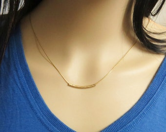 Gold tube necklace, Curved bar necklace, Gold layering necklace, Delicate gold filled necklace