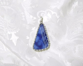 Broken China Jewelry Pendant Flow Blue