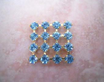 Vintage Blue Topaz Crystal Rhinestone Square Finding