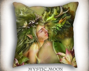 Last Kiss...PILLOW with Insert... Greenman and Meadow Nymph... 18x18 Inch