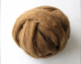 Roving for Spinning -- Polypay Wool Gold/Olive 14 -- 4 oz.