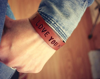 I love you more bracelet - Personalized leather bracelet - Custom stamp name verse or quote - adustable snap closure
