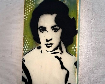 Elizabeth Taylor Graffiti Painting Original Art on Wood Canvas Original Stencil Pop Art