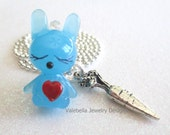 Honey Bunny Love Easter 3D lampwork rabbit2 carrot charm necklace blue with heart