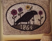 E Pattern Hooked Rug Crow Flowers