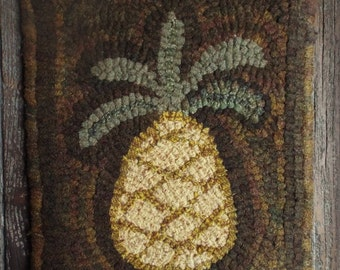 Rug Hooking Primitive Pattern on Monks Cloth Simple Pineapple