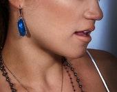 Blue Sapphire diamond framed earrings, sapphire slice earrings, blue luxurious earrings