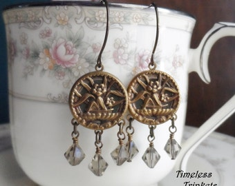 Antique Button Earrings with Swarovski Crystals- Aloe