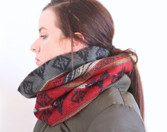Colorful Tribal Vermont Wool Cowl Scarf Neckwarmer Red Blue Gold White Fleece Lined Warm CozyWinter Fashion Unisex // by Nicoles Threads