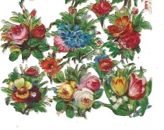 Vintage Die Cut Paper Scrap Florals  Mixed Lot 25 Pieces