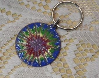Keychain Copper Enamel key ring / tye dye blue green yellow red purple