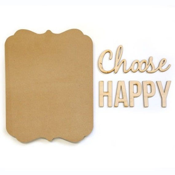 Unfinished wood plaque kit choose happy laser cut wall art for Skilled craft worker makes furniture art etc