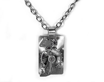 Steampunk Necklace Vintage Clock Work Gear Pendant SOLDERED Silver BOLD SPINNING Gear Men Women Gift Burning Man - Steampunk by edmdesigns