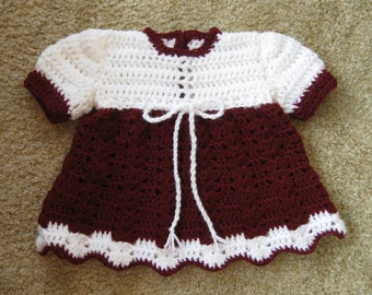 Crocheted Baby Dress in White and Burgundy