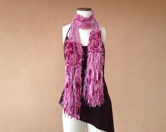 Rose Scarf Dusty Rose, Pink Scarf Hand Knit Scarf Shabby Chic Accessories Women Scarf with Burgundy, Mauve