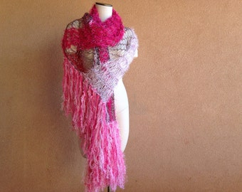 Knit Pink Scarf Women's Wrap in Pink, Shawl Accessories Clothing, Large Pink Shawl, Lightweight Shawl with Black, Pink and  White Shawl