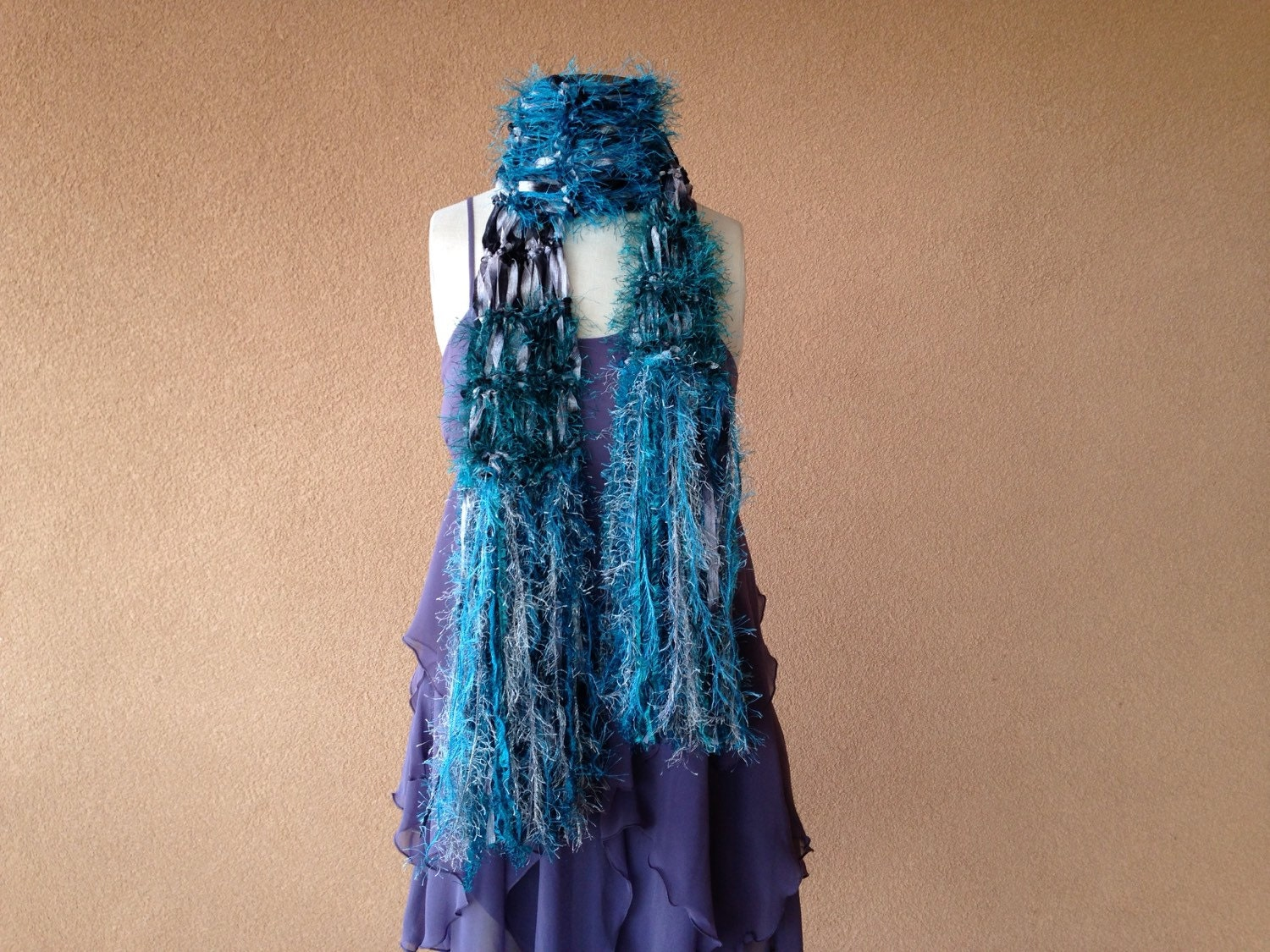 teal black and silver grey scarf handknit scarf with fringe