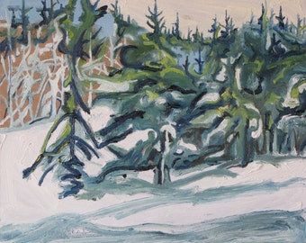 Art Original Plein Air Landscape Oil Painting Impressionist FREE SHIPPING Winter Snow Tree Appalachian Quebec Canada Fournier ' Snowed In