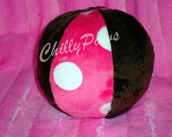 Dog Ball - Dog toy - Squeaker Ball - Hot Polka Dots Ball - Squeaker Ball Toy for Dogs - Ball with Rattle for Baby - Minky Ball